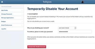 نحوهی غیرفعال کردن موقت حساب کاربری اینستاگرام