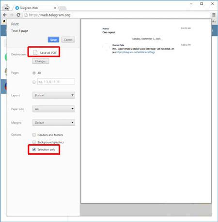 مرورگر اینترنتی, گرفتن خروجی PDF از مکالمات تلگرام