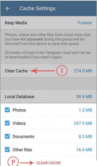 ترفندهای تلگرام , آموزش پاک کردن کش تلگرام در اندروید