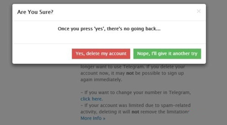 حساب کاربری تلگرام , حذف حساب کاربری تلگرام